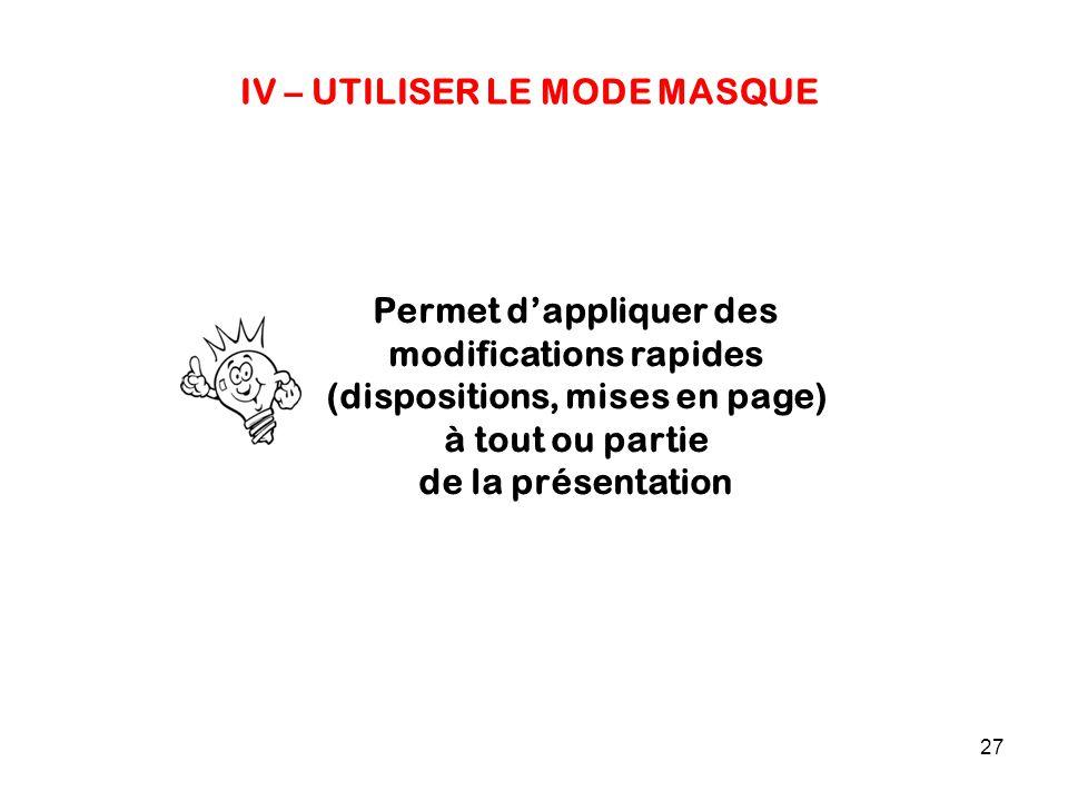 27 IV – UTILISER LE MODE MASQUE Permet d'appliquer des modifications rapides (dispositions, mises en page) à tout ou partie de la présentation