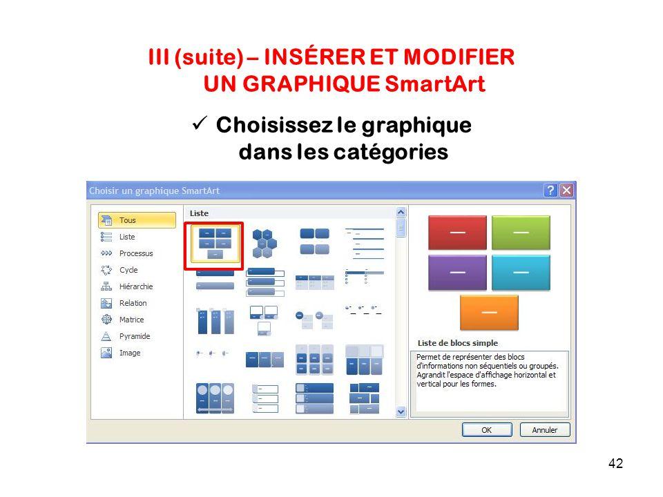 42 III (suite) – INSÉRER ET MODIFIER UN GRAPHIQUE SmartArt Choisissez le graphique dans les catégories
