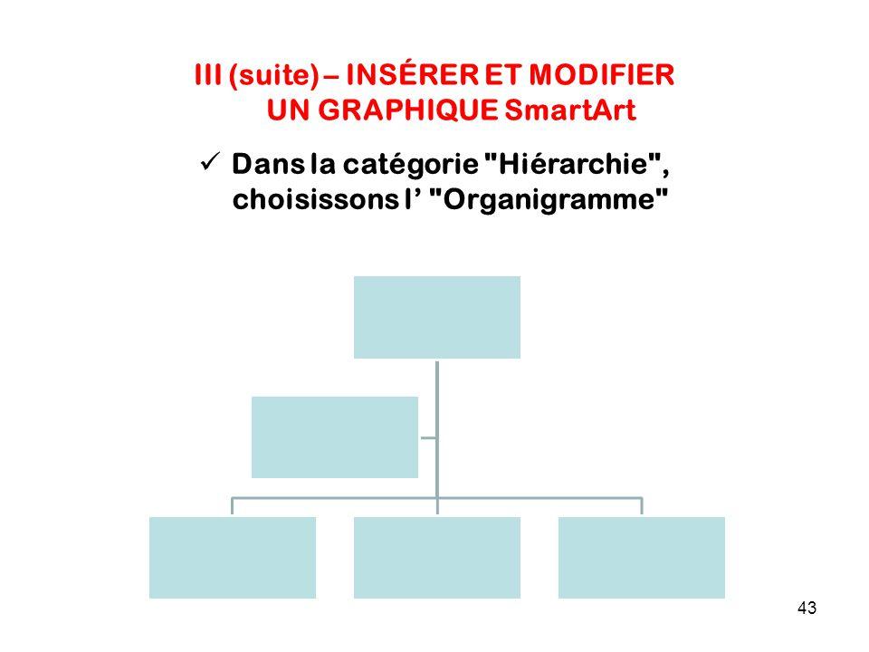 43 III (suite) – INSÉRER ET MODIFIER UN GRAPHIQUE SmartArt Dans la catégorie Hiérarchie , choisissons l' Organigramme