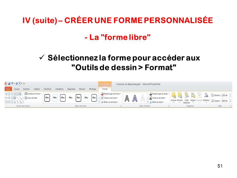 51 IV (suite) – CRÉER UNE FORME PERSONNALISÉE - La forme libre Sélectionnez la forme pour accéder aux Outils de dessin > Format