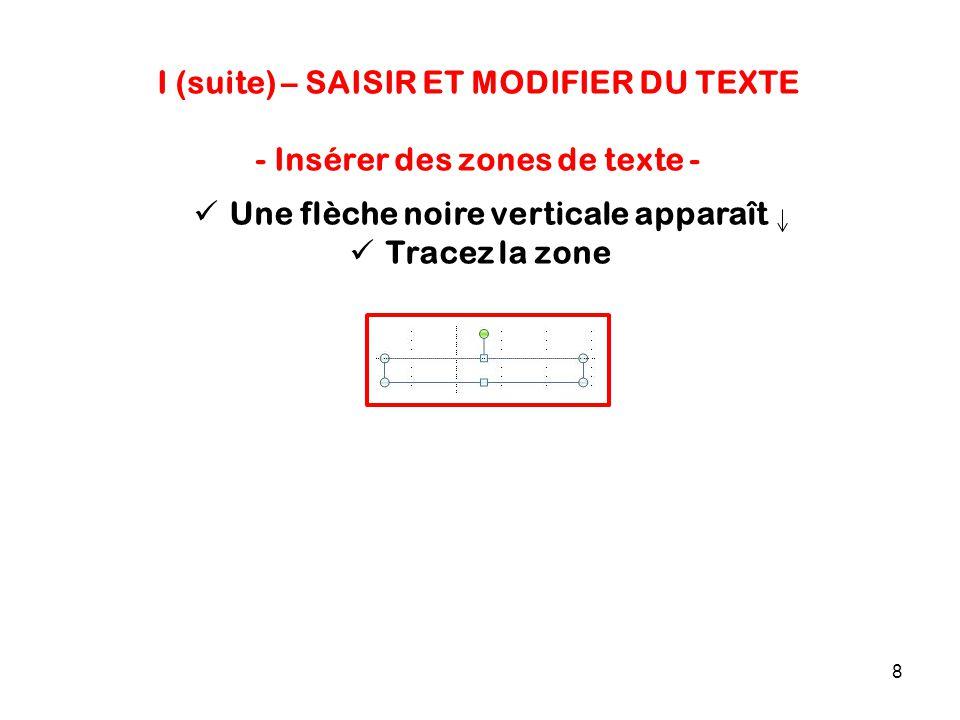 8 I (suite) – SAISIR ET MODIFIER DU TEXTE - Insérer des zones de texte - Une flèche noire verticale apparaît Tracez la zone