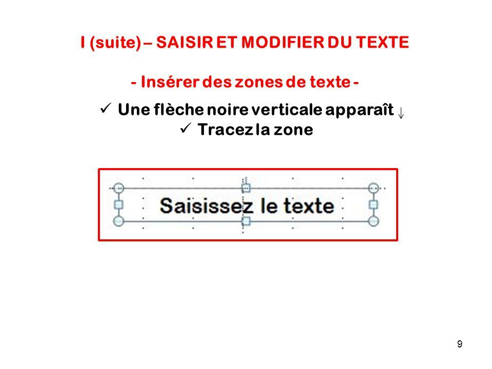9 I (suite) – SAISIR ET MODIFIER DU TEXTE - Insérer des zones de texte - Une flèche noire verticale apparaît Tracez la zone