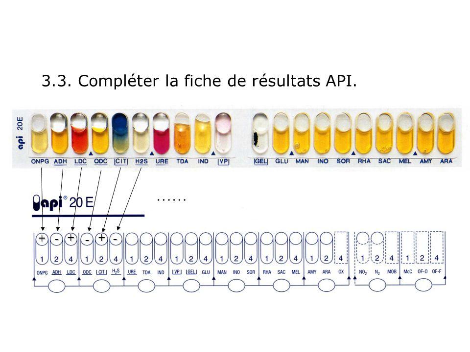 3.3. Compléter la fiche de résultats API. + ++ - - - ……