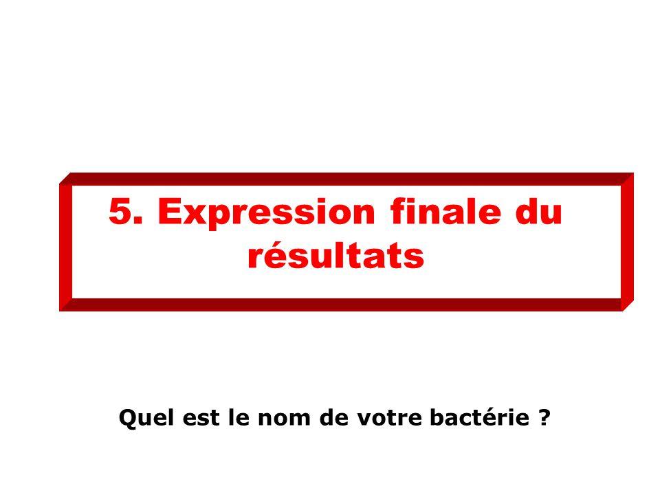 5. Expression finale du résultats Quel est le nom de votre bactérie ?