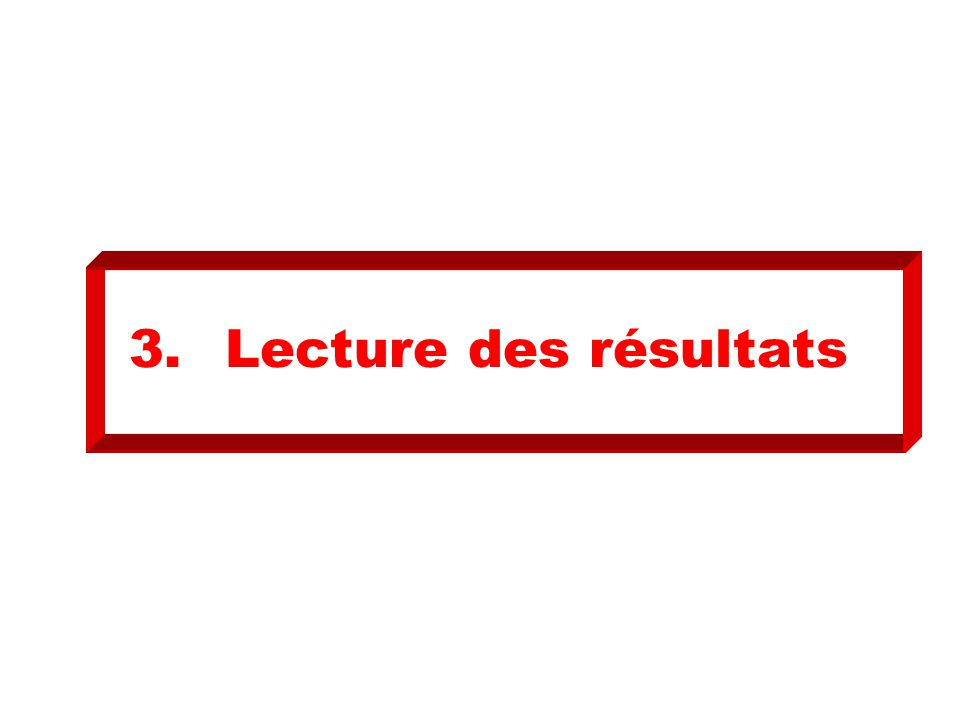 3.Lecture des résultats
