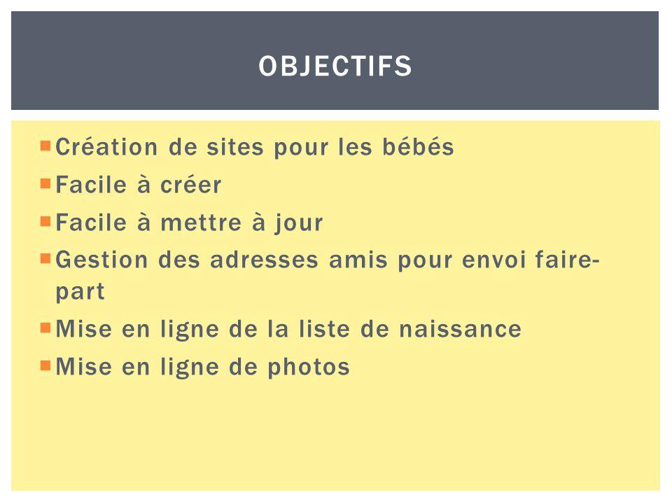  Création de sites pour les bébés  Facile à créer  Facile à mettre à jour  Gestion des adresses amis pour envoi faire- part  Mise en ligne de la liste de naissance  Mise en ligne de photos OBJECTIFS