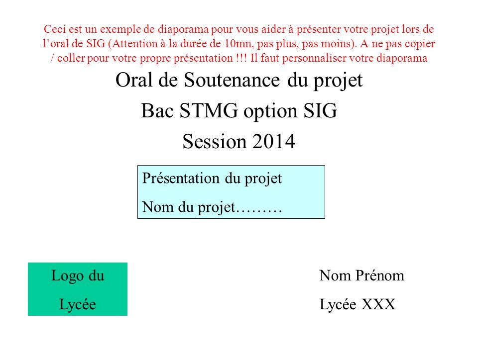 Ceci est un exemple de diaporama pour vous aider à présenter votre projet lors de l'oral de SIG (Attention à la durée de 10mn, pas plus, pas moins).