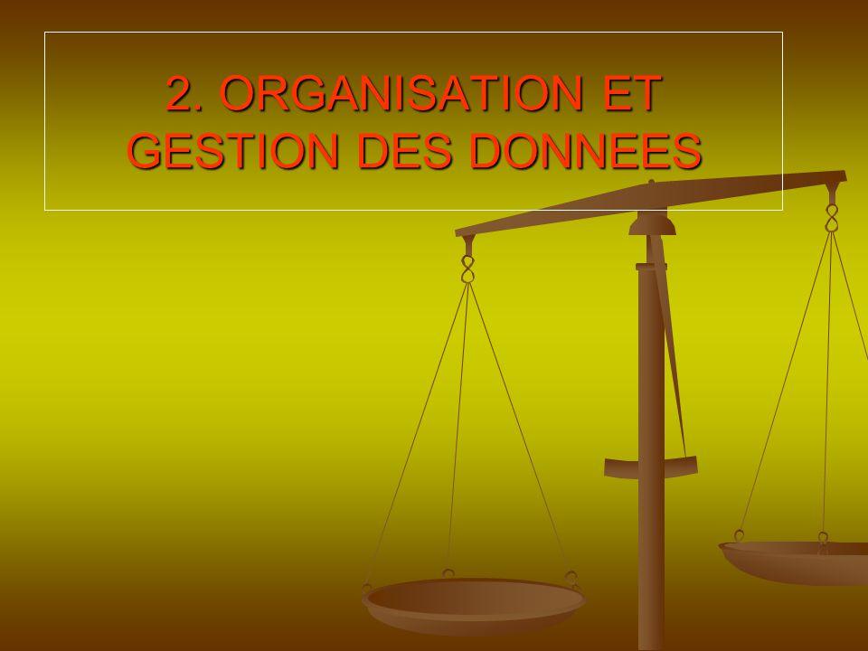 2. ORGANISATION ET GESTION DES DONNEES