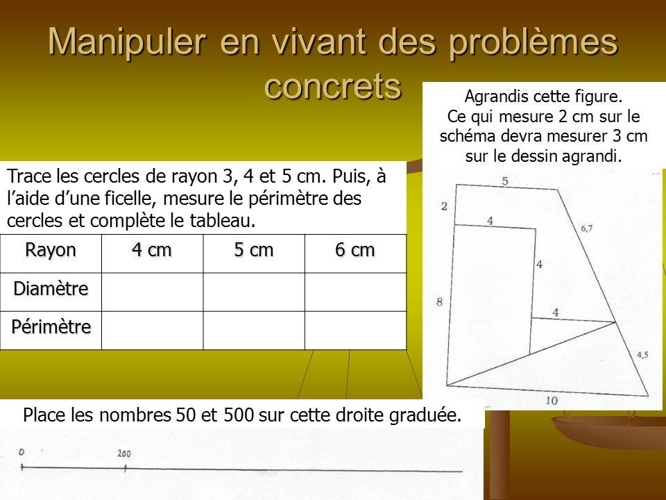 Manipuler en vivant des problèmes concrets Agrandis cette figure. Ce qui mesure 2 cm sur le schéma devra mesurer 3 cm sur le dessin agrandi. Trace les