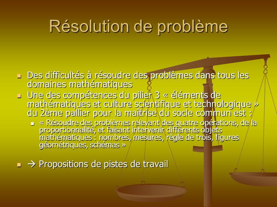 Résolution de problème Des difficultés à résoudre des problèmes dans tous les domaines mathématiques Des difficultés à résoudre des problèmes dans tou