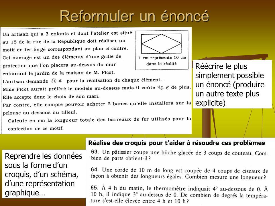 Reformuler un énoncé Réécrire le plus simplement possible un énoncé (produire un autre texte plus explicite) Reprendre les données sous la forme d'un
