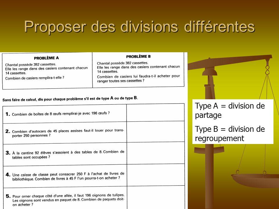 Proposer des divisions différentes Type A = division de partage Type B = division de regroupement