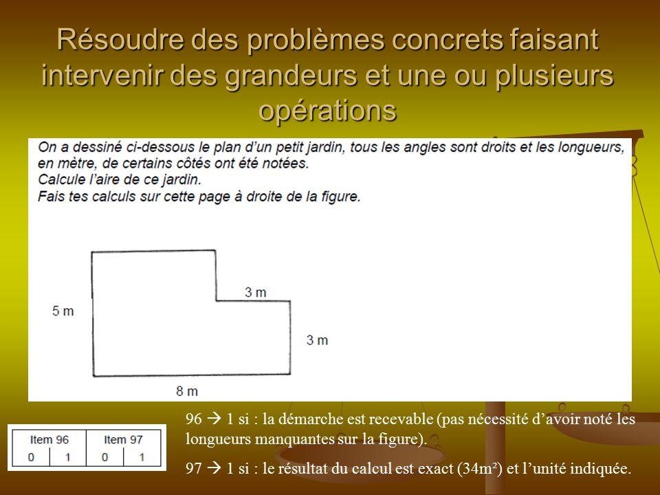 Résoudre des problèmes concrets faisant intervenir des grandeurs et une ou plusieurs opérations 96  1 si : la démarche est recevable (pas nécessité d