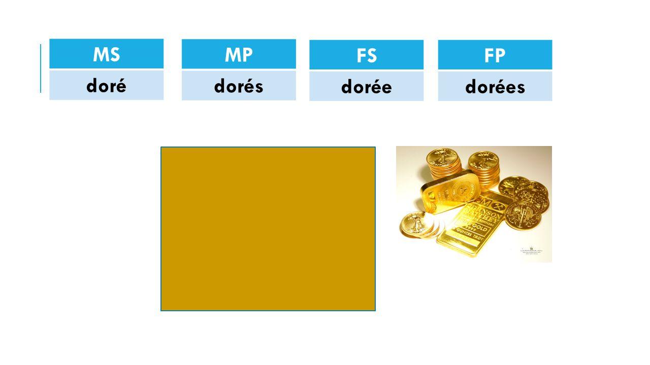 MS doré FP dorées FS dorée MP dorés