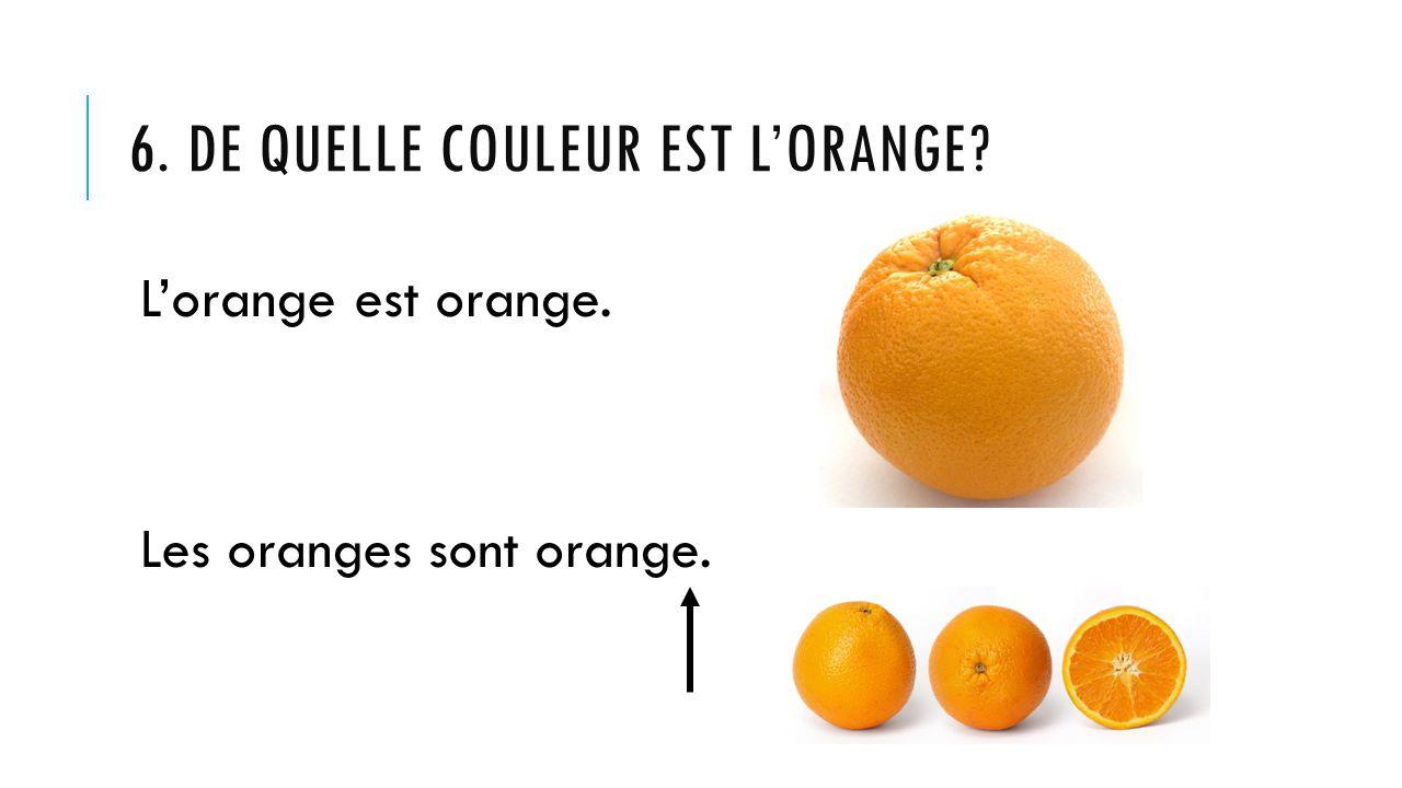 6. DE QUELLE COULEUR EST L'ORANGE? L'orange est orange. Les oranges sont orange.