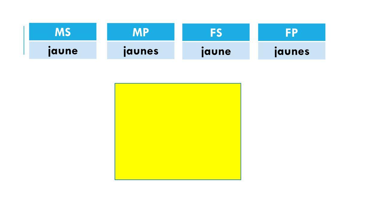 MS jaune FP jaunes FS jaune MP jaunes