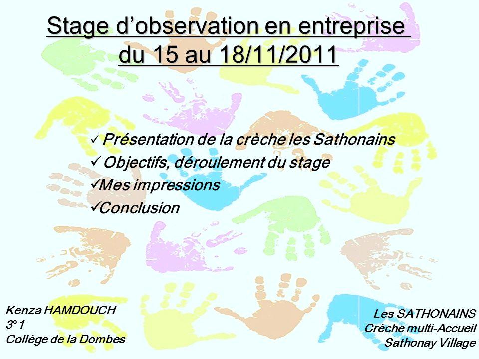 Stage d'observation en entreprise du 15 au 18/11/2011 Présentation de la crèche les Sathonains Objectifs, déroulement du stage Mes impressions Conclus