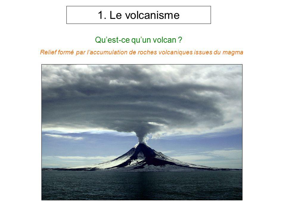 1. Le volcanisme Qu'est-ce qu'un volcan ? Relief formé par l'accumulation de roches volcaniques issues du magma