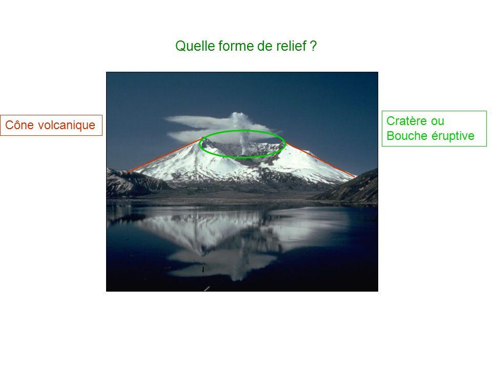 Quelle forme de relief ? Cône volcanique Cratère ou Bouche éruptive