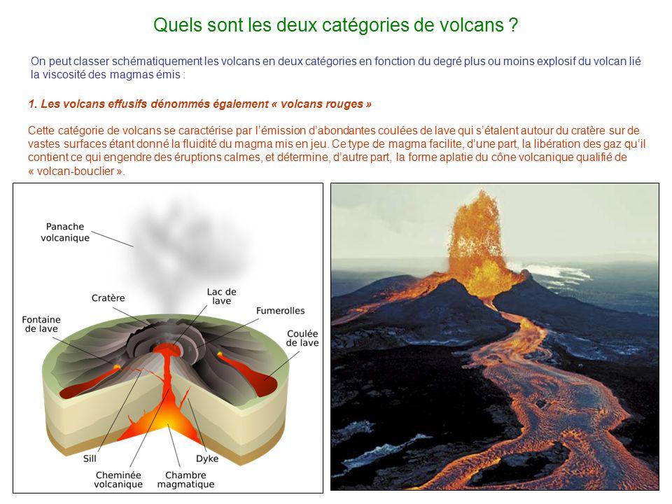 Quels sont les deux catégories de volcans ? 1. Les volcans effusifs dénommés également « volcans rouges » Cette catégorie de volcans se caractérise pa