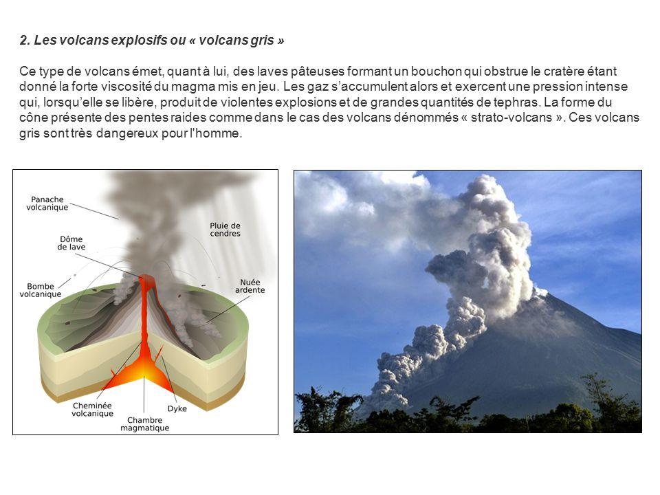 2. Les volcans explosifs ou « volcans gris » Ce type de volcans émet, quant à lui, des laves pâteuses formant un bouchon qui obstrue le cratère étant