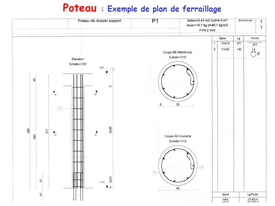 Poteau : Exemple de plan de ferraillage