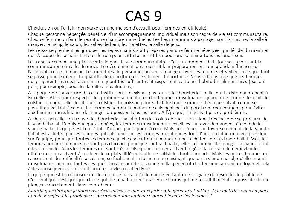 CAS 9 L'institution où j'ai fait mon stage est une maison d'accueil pour femmes en difficulté. Chaque personne hébergée bénéficie d'un accompagnement
