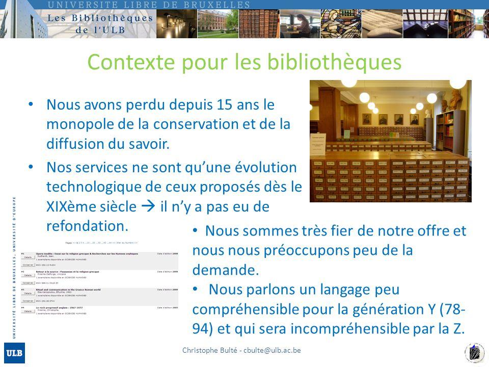 Contexte pour les bibliothèques Nous avons perdu depuis 15 ans le monopole de la conservation et de la diffusion du savoir.