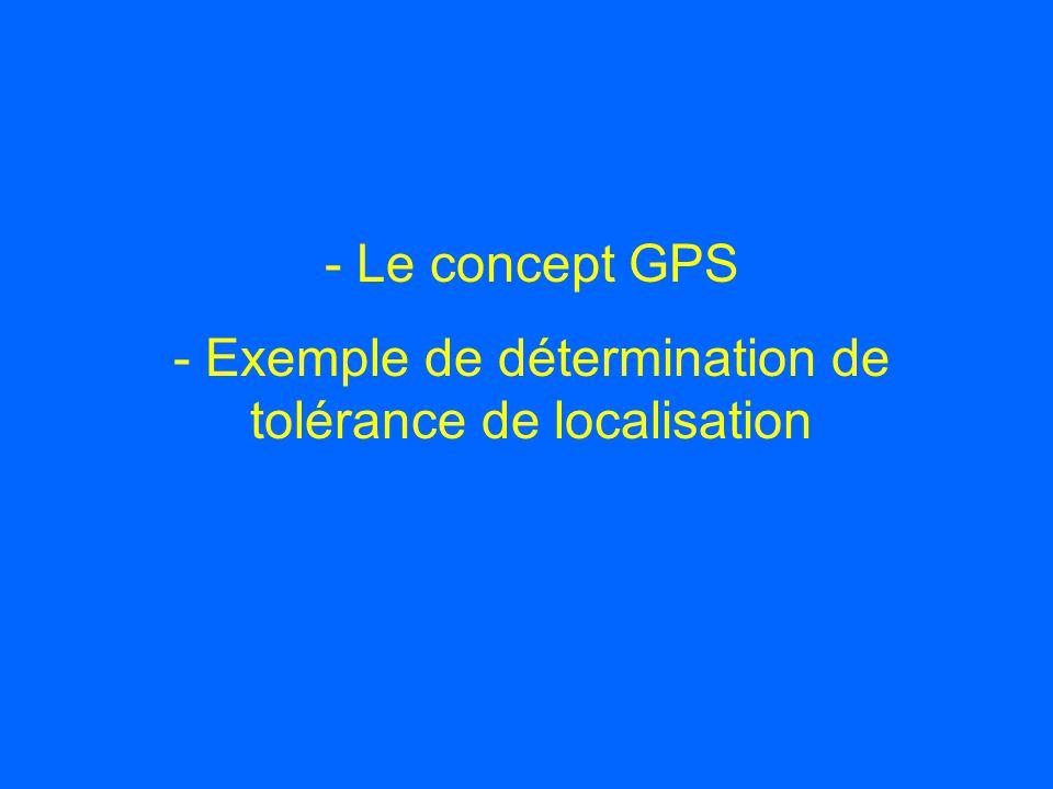 - Le concept GPS - Exemple de détermination de tolérance de localisation