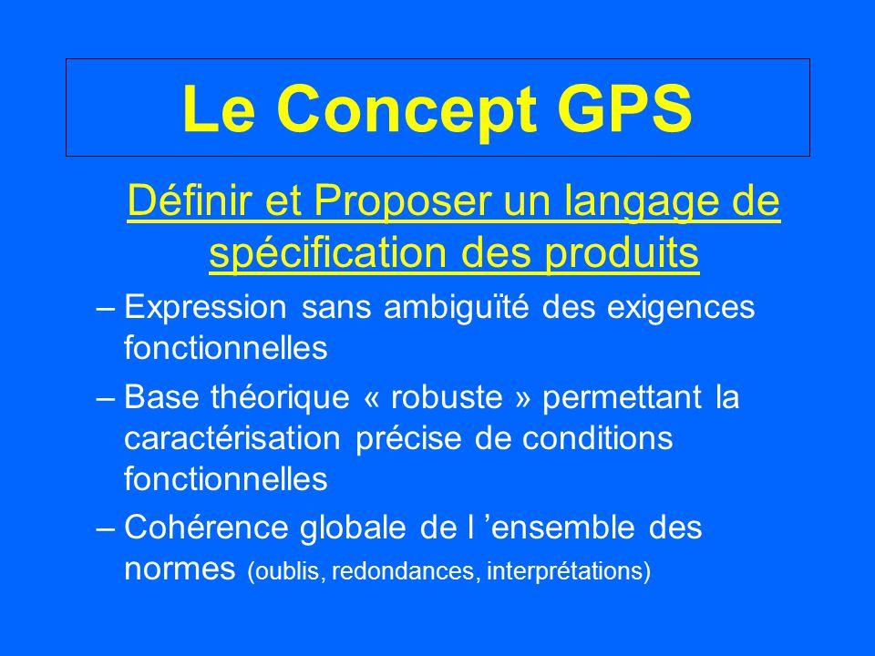 Le Concept GPS Définir et Proposer un langage de spécification des produits –Expression sans ambiguïté des exigences fonctionnelles –Base théorique «