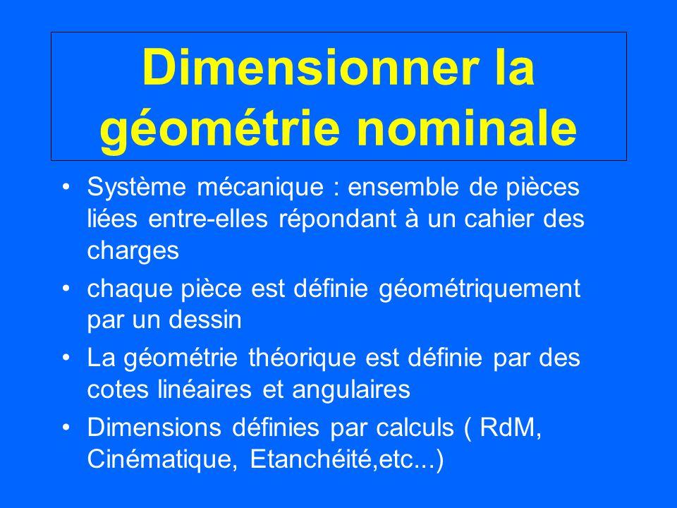 Dimensionner la géométrie nominale Système mécanique : ensemble de pièces liées entre-elles répondant à un cahier des charges chaque pièce est définie