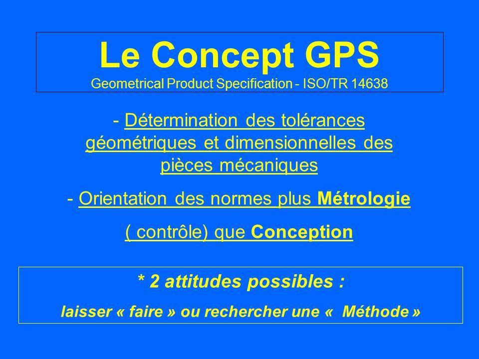 Le Concept GPS Geometrical Product Specification - ISO/TR 14638 - Détermination des tolérances géométriques et dimensionnelles des pièces mécaniques -
