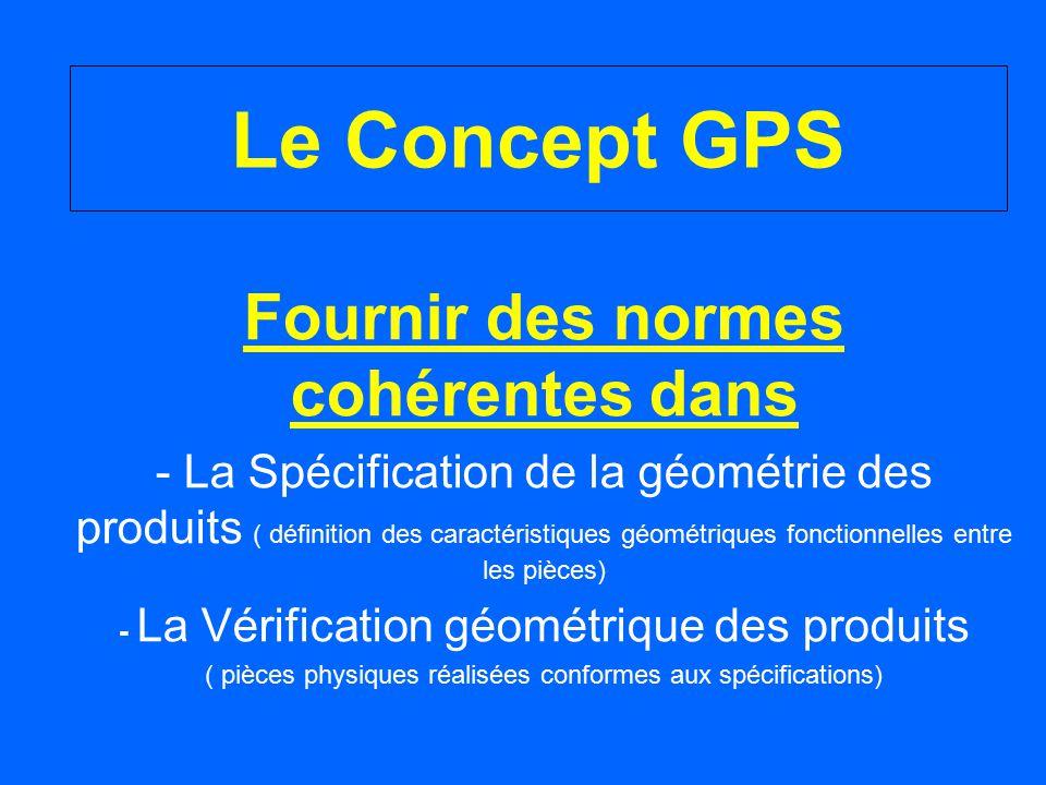 Le Concept GPS Fournir des normes cohérentes dans - La Spécification de la géométrie des produits ( définition des caractéristiques géométriques fonct
