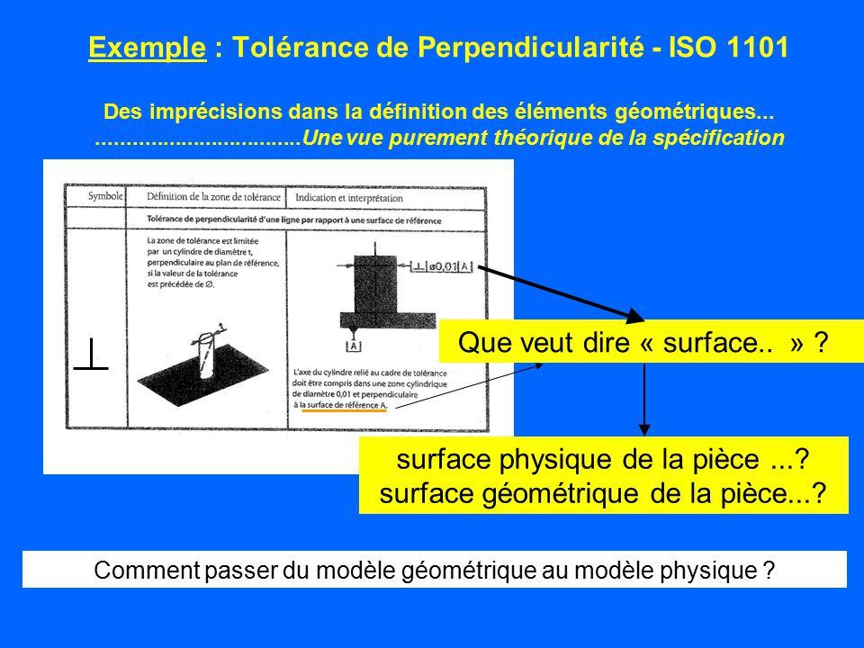 Exemple : Tolérance de Perpendicularité - ISO 1101 Des imprécisions dans la définition des éléments géométriques.....................................U