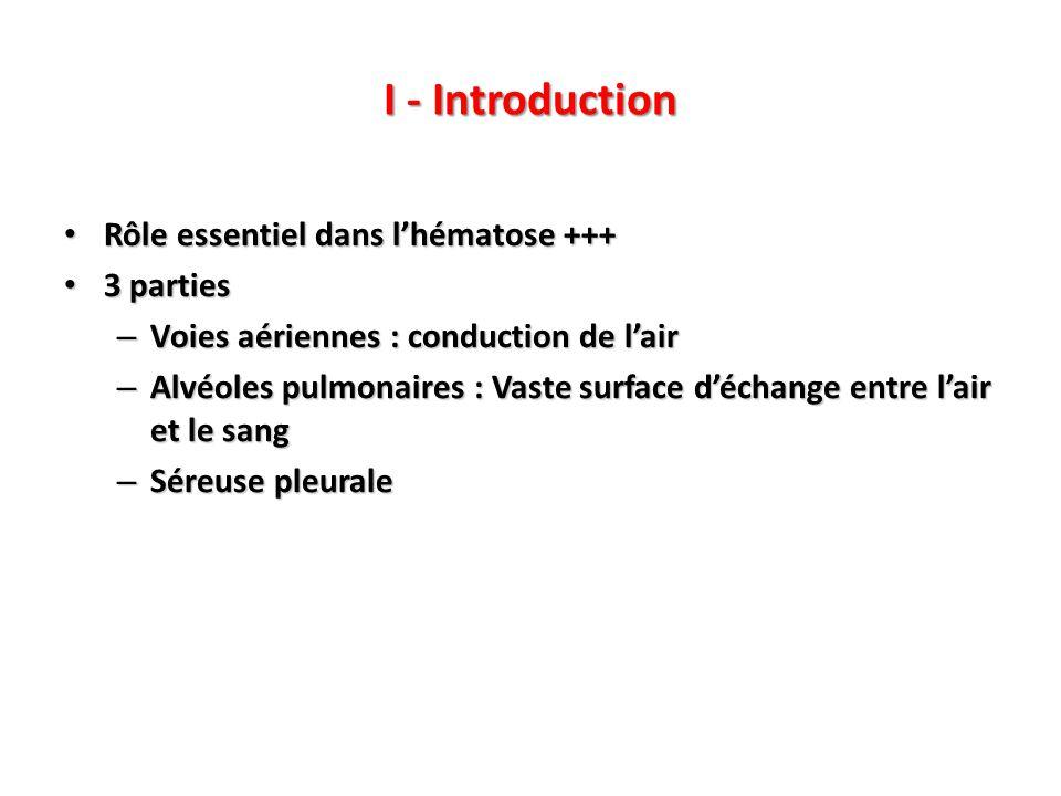 Rôle essentiel dans l'hématose +++ Rôle essentiel dans l'hématose +++ 3 parties 3 parties – Voies aériennes : conduction de l'air – Alvéoles pulmonaires : Vaste surface d'échange entre l'air et le sang – Séreuse pleurale I - Introduction