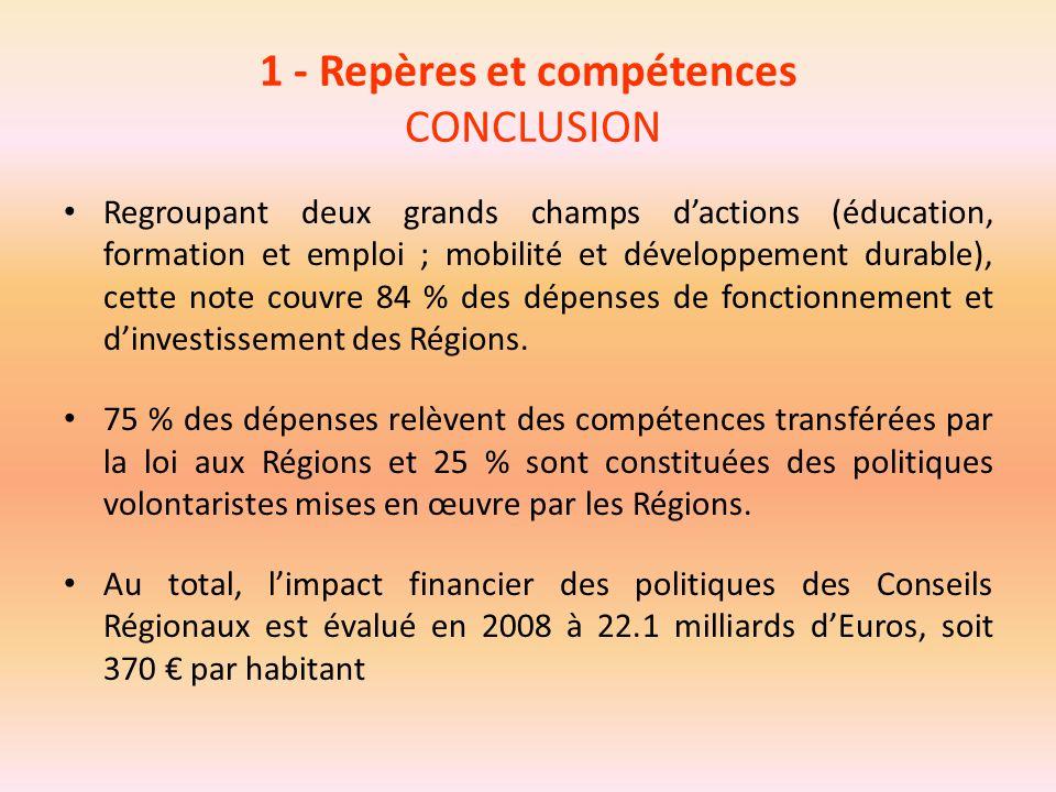 1 - Repères et compétences CONCLUSION Regroupant deux grands champs d'actions (éducation, formation et emploi ; mobilité et développement durable), ce