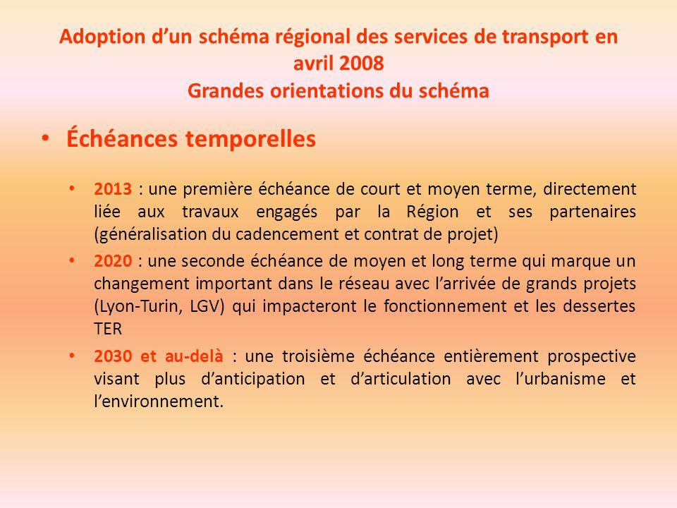 Adoption d'un schéma régional des services de transport en avril 2008 Grandes orientations du schéma Échéances temporelles 2013 : une première échéanc