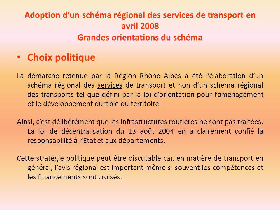 Adoption d'un schéma régional des services de transport en avril 2008 Grandes orientations du schéma Choix politique La démarche retenue par la Région