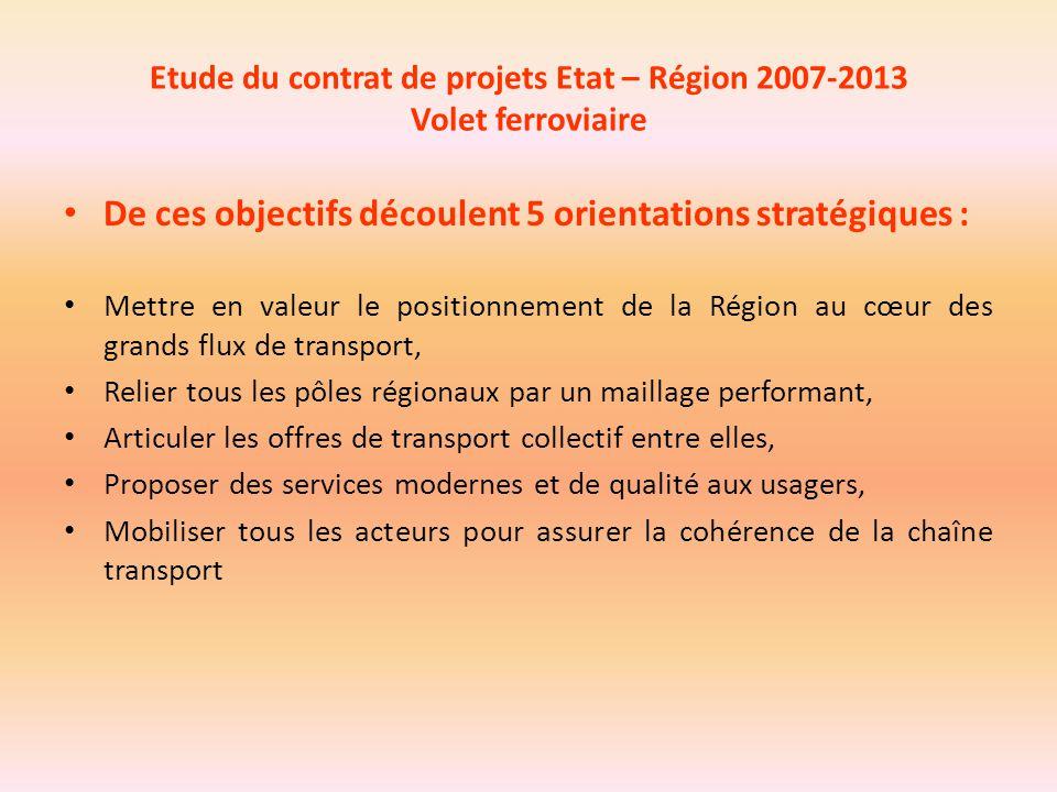 Etude du contrat de projets Etat – Région 2007-2013 Volet ferroviaire De ces objectifs découlent 5 orientations stratégiques : Mettre en valeur le pos