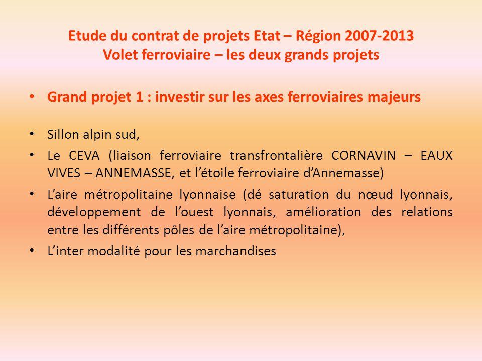 Etude du contrat de projets Etat – Région 2007-2013 Volet ferroviaire – les deux grands projets Grand projet 1 : investir sur les axes ferroviaires ma