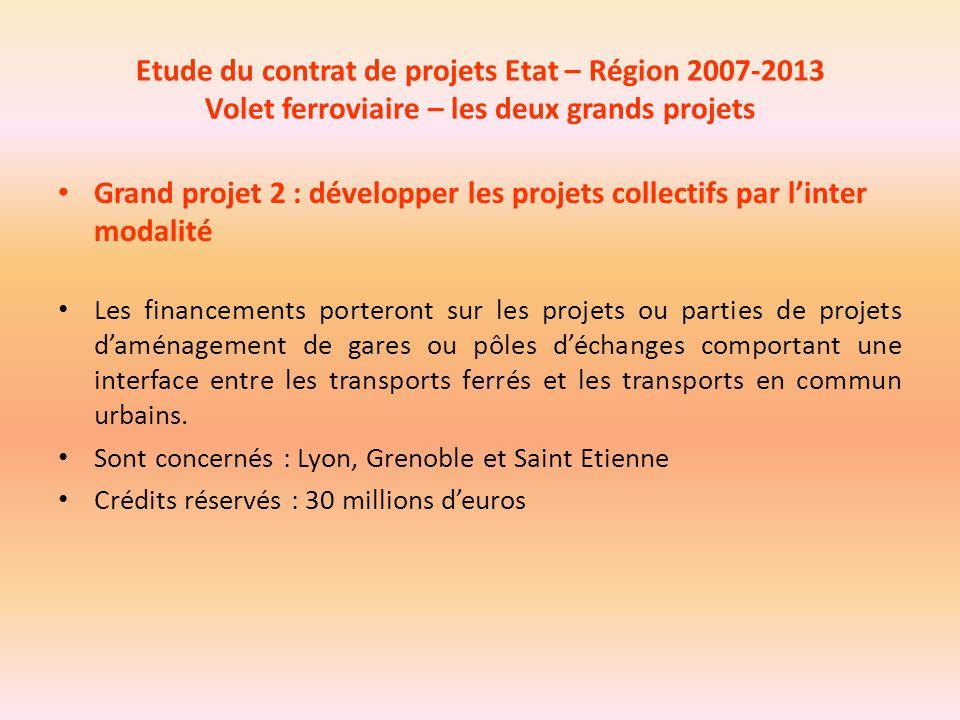 Etude du contrat de projets Etat – Région 2007-2013 Volet ferroviaire – les deux grands projets Grand projet 2 : développer les projets collectifs par