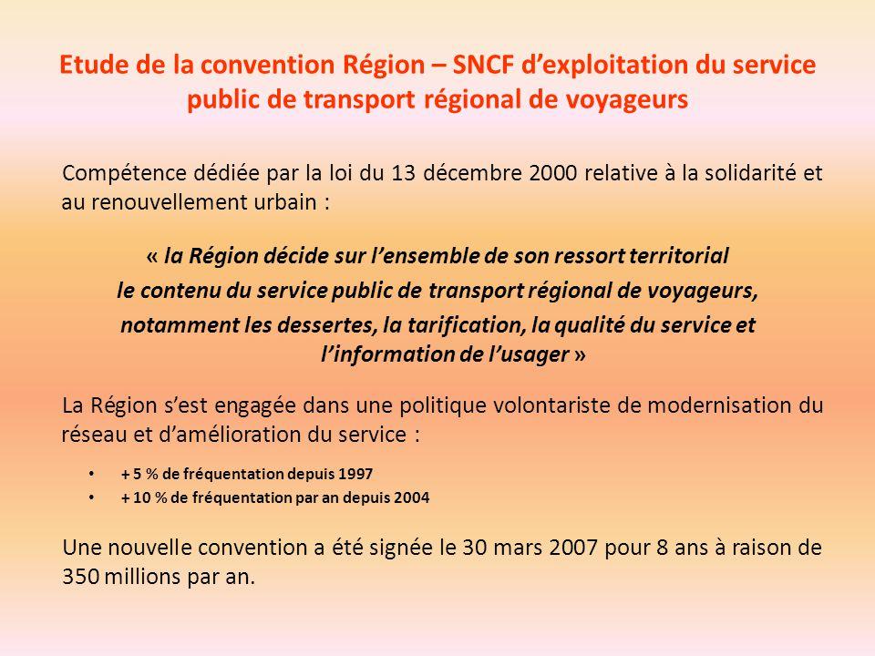 Etude de la convention Région – SNCF d'exploitation du service public de transport régional de voyageurs Compétence dédiée par la loi du 13 décembre 2