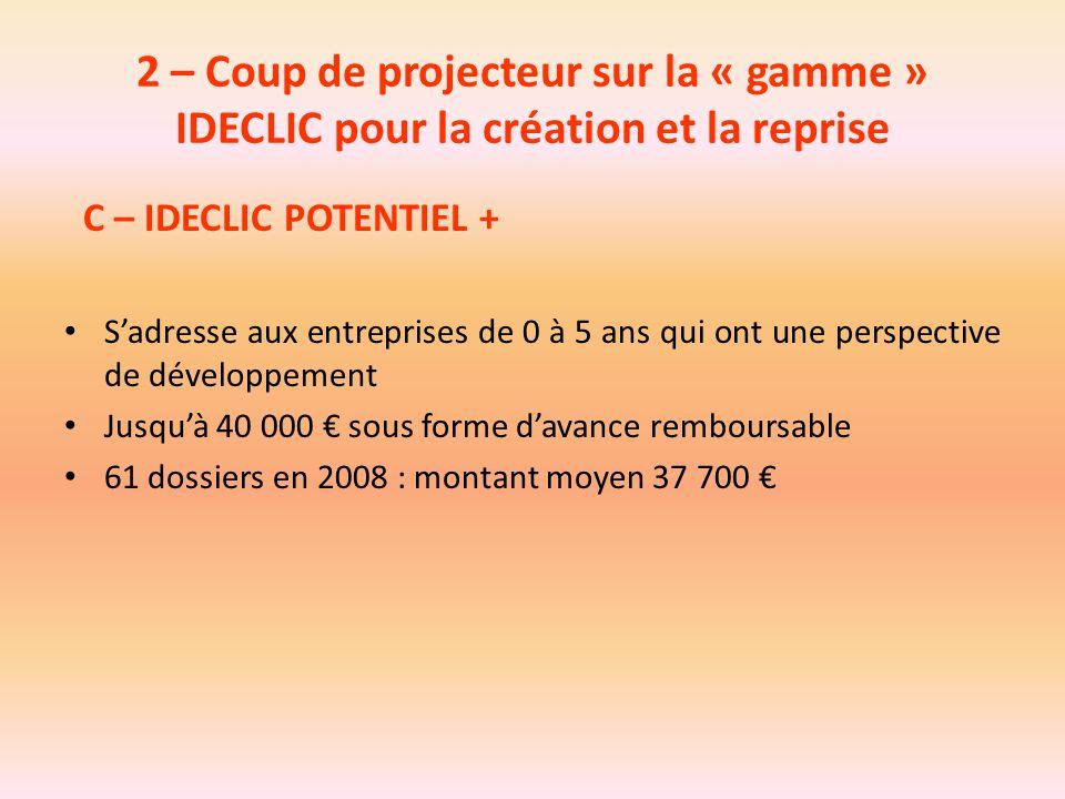 2 – Coup de projecteur sur la « gamme » IDECLIC pour la création et la reprise C – IDECLIC POTENTIEL + S'adresse aux entreprises de 0 à 5 ans qui ont
