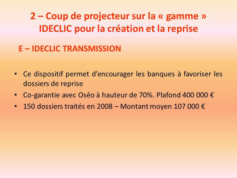 2 – Coup de projecteur sur la « gamme » IDECLIC pour la création et la reprise E – IDECLIC TRANSMISSION Ce dispositif permet d'encourager les banques