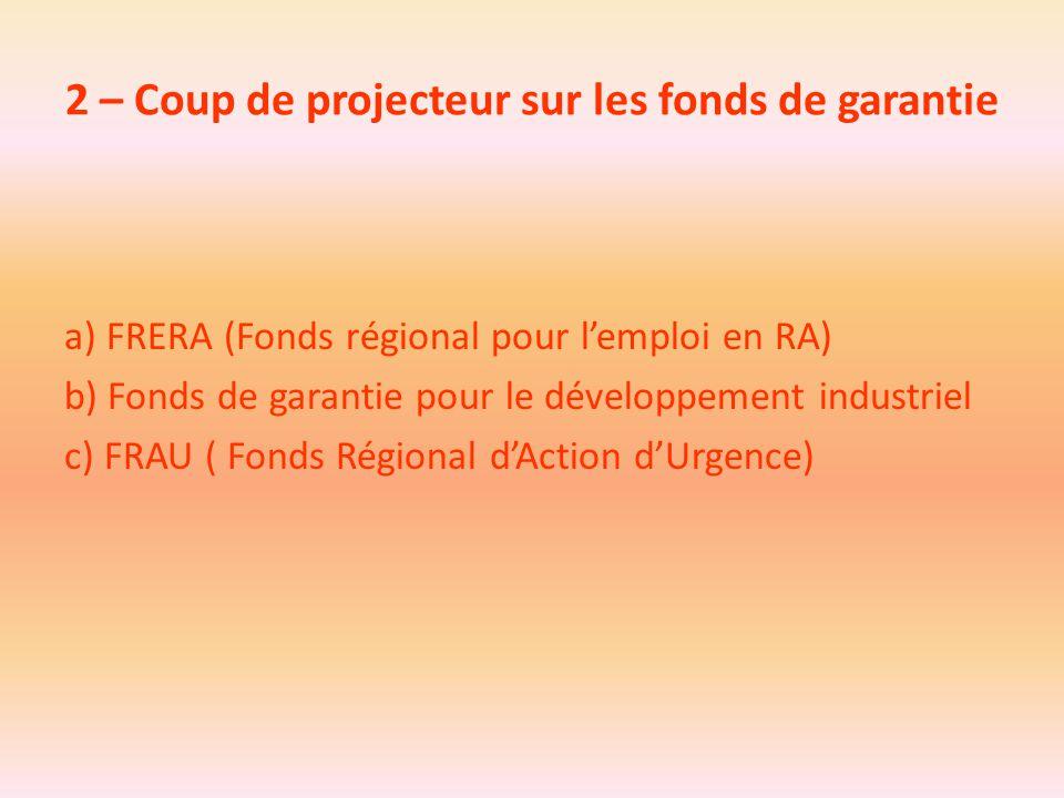 2 – Coup de projecteur sur les fonds de garantie a) FRERA (Fonds régional pour l'emploi en RA) b) Fonds de garantie pour le développement industriel c