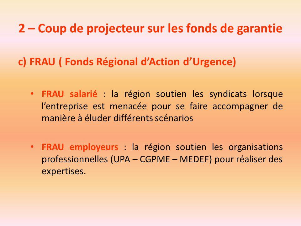2 – Coup de projecteur sur les fonds de garantie c) FRAU ( Fonds Régional d'Action d'Urgence) FRAU salarié : la région soutien les syndicats lorsque l