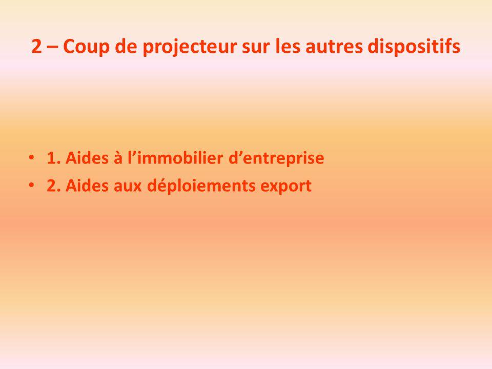 2 – Coup de projecteur sur les autres dispositifs 1. Aides à l'immobilier d'entreprise 2. Aides aux déploiements export