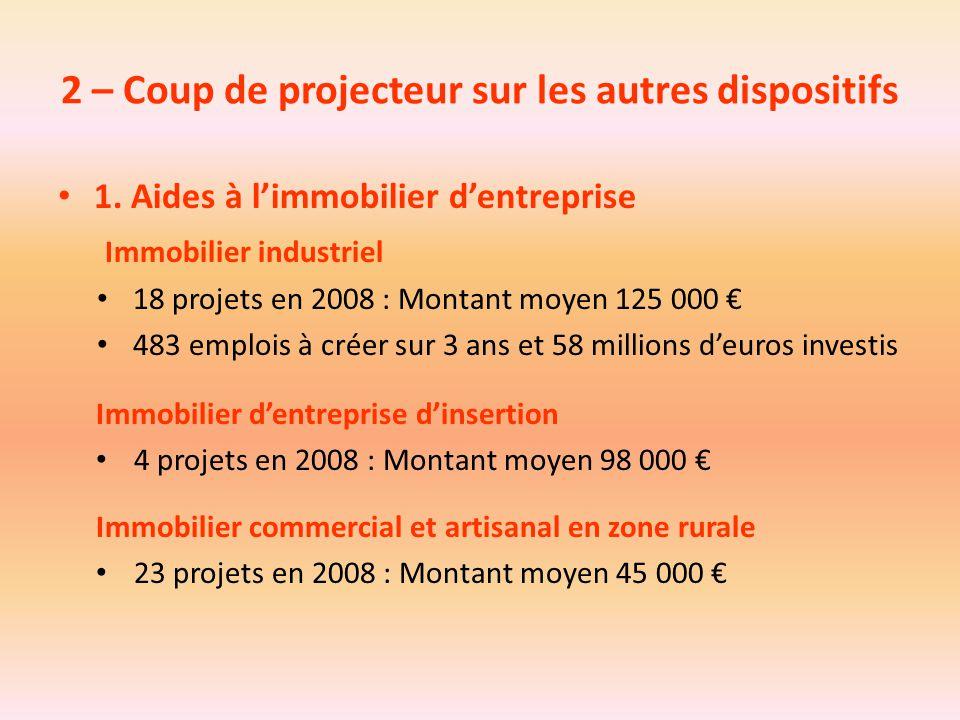 2 – Coup de projecteur sur les autres dispositifs 1. Aides à l'immobilier d'entreprise Immobilier industriel 18 projets en 2008 : Montant moyen 125 00