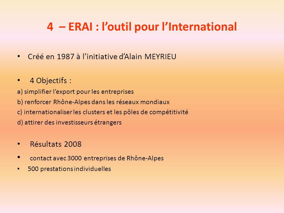 4 – ERAI : l'outil pour l'International Créé en 1987 à l'initiative d'Alain MEYRIEU 4 Objectifs : a) simplifier l'export pour les entreprises b) renfo