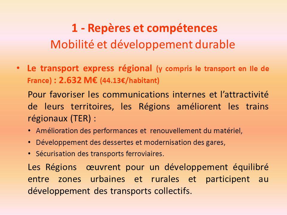 1 - Repères et compétences Mobilité et développement durable Le transport express régional (y compris le transport en Ile de France) : 2.632 M€ (44.13